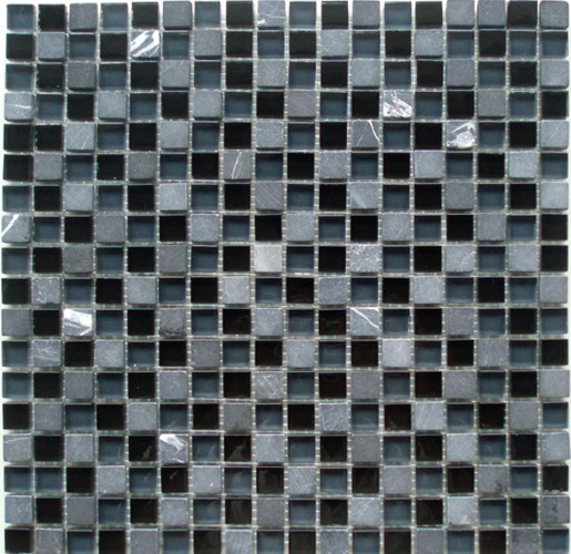 mixed natural stone and glass mosaic tile 15x15mm