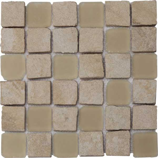 Mixed Porcelain And Glass Mosaic Tile