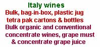 Itably table wines and wine concentrate for export